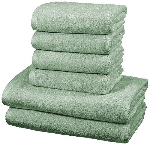 AmazonBasics - Handtuch-Set, schnelltrocknend, 2 Badetücher und 4 Handtücher - Meeresgrün, 100 Prozent Baumwolle