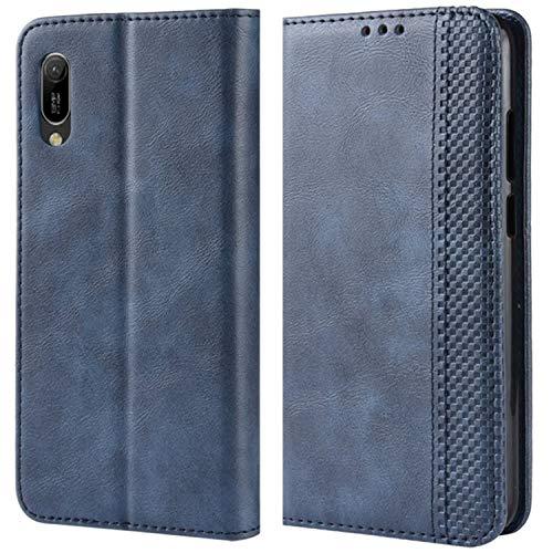 HualuBro Handyhülle für Huawei Y6s Hülle, Retro Leder Stoßfest Klapphülle Schutzhülle Handytasche LederHülle Flip Hülle Cover für Huawei Y6s Tasche, Blau