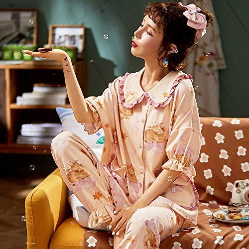 LLGG Cortas Pijamas Corto Mujer Verano,Pijamas de Verano para Mujer, Traje de Servicio a Domicilio de Dos Piezas de Talla grande-JZN1812_XXXL