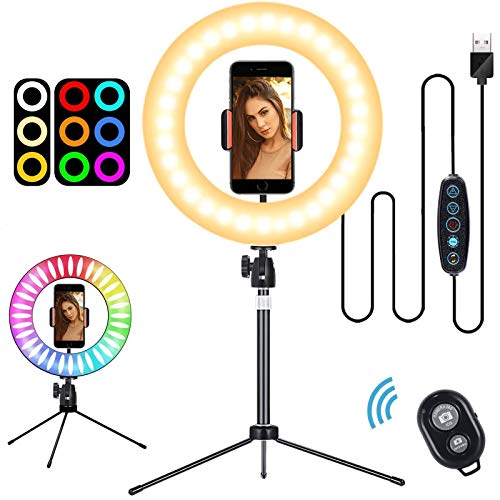 """10"""" LED Ring Light with Tripod Stand, Phone Holder & Remote Control 3 Lighting Modes and 8 RGB Colors Desk Ring Light for Tiktok, Youtube Video, Makeup, Selfie, Photography, Live Streaming"""