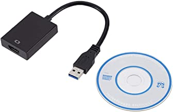 Goglor USB 3.0 to HDMI Adapter, USB 3.0 to HDMI 1080P Video Graphics Cable Converter External Graphics Card Converter Compatible with Windows XP/7/8/8.1/10 and Mac OS -Black