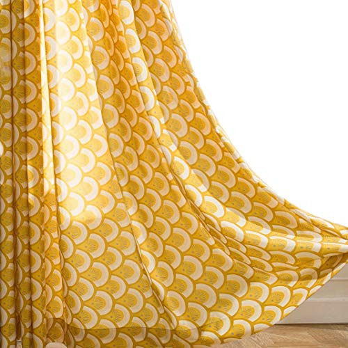 VOGOL Thermal Insulated Window Room Grommet Curtain Drapes for Bedroom and Living Room, Set of 2 Panels, W52 x L84 inch,Yellow Geo Patten in White