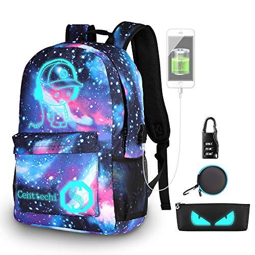 Rucksack Schulrucksack Luminous Schultasche,Kinder Schule Schulrucksäcke Unisex Daypack Laptop Tasche Backpack Freizeitrucksack mit USB Port&Bleistifttasche&Passwortschloss für Mädchen Jungen-Galaxy