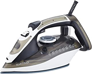 MARTISAN HL-8001 Steam Iron, 1800W Super Hot Ceramic Soleplate Iron, Anti-Drip, Anti-Calc, Self-Clean Function (Brown)