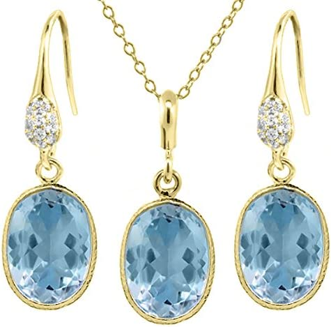 Gem Stone King 21.00 NEW before selling Ct Blue Gold Shape OFFer Plate Topaz Oval 14x10mm