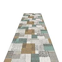 廊下敷きマット ランナー 7mm厚の長い廊下ランナーラグ、キッチン通路ホール用の滑りにくいモダンな幾何学模様エリアラグ (Size : 90×500cm)