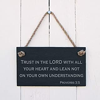Wood Plaque Trust In The Lord With All Your Heart And Lean Not On Your Own Understanding Proverbs 3:5 Wall Hanging Sign Home Decoration Fun Sign