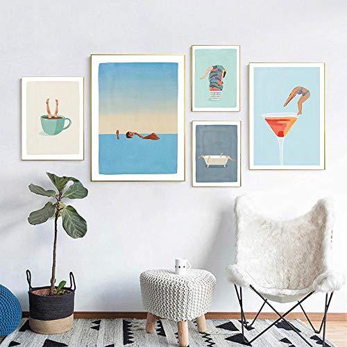 XIXISA 5 Unids Moderno Simple Minimalista Piscina Impresión de Lienzo Pintura Cartel Arte Cuadros de Pared para la Sala de Estar Decoración del Hogar Decoración de la Pared 40x60cm Sin Marco