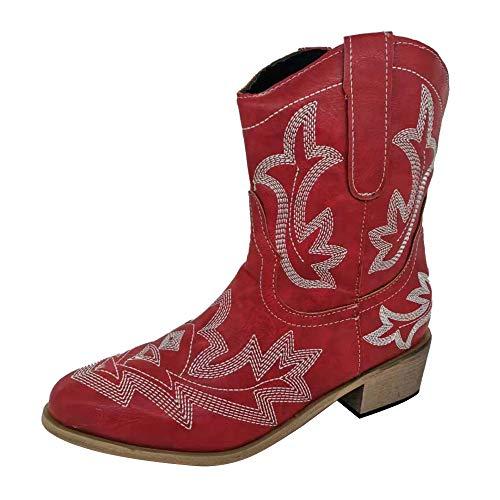 Manooby Damen Stiefel Stiefeletten Retro Cowgirl Western Biker Boots Chunkyrayan Stickerei Ankle Boots Böhmische Chelsea Boots Schlupfstiefel EU 35-43 mit Niedrigem Absatz