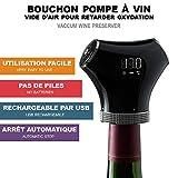 CLIMADIFF Bouchon Pompe à vin Pompe à air Intelligente + Deux Bouchons - Coffret Conservation du vin - Arrêt Automatique - Rechargeable par USB - Conservez Le vin de Vos Bouteilles entamées !
