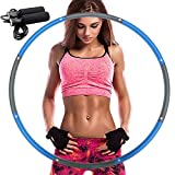 REDSEASONS Hula Hoop for Adults,Lose Weight Fast by Fun Way to Workout,Easy to Spin, Premium Quality and Soft Padding Hula Hoop,with Free Accessory Skipping Rope(Blue)