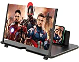 12' Phone Screen Magnifier,3D Smartphone HD Screen Amplifier,Foldable Phone Stand with Screen Enlarger for Movies,Videos,Gaming,Compatible with All Cell Phones