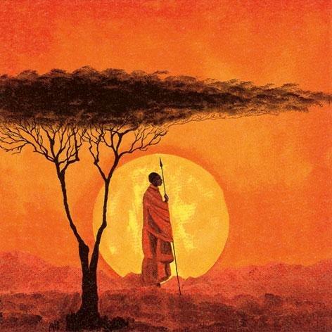 Lot De 20 Serviettes, Afrique, Coucher De Soleil Romantique