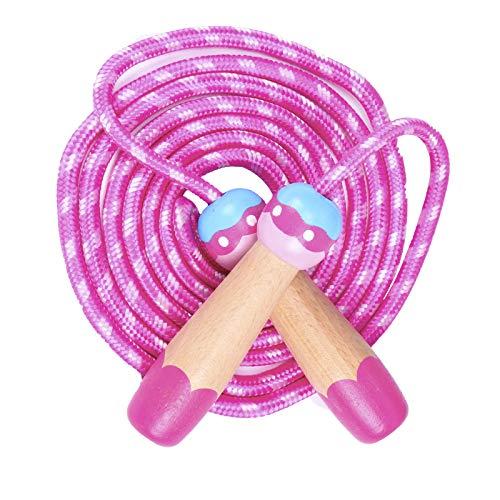 Springseil Kinder,Rosa Seilspringen Für Kids Mädchen,2.8 M Verstellbares Sprungseil/ Rope Skipping Seil/Speed Jump Rope/ Skipping Rope Mit Holzgriff Und Baumwolle Für Fitness Training Crossfit