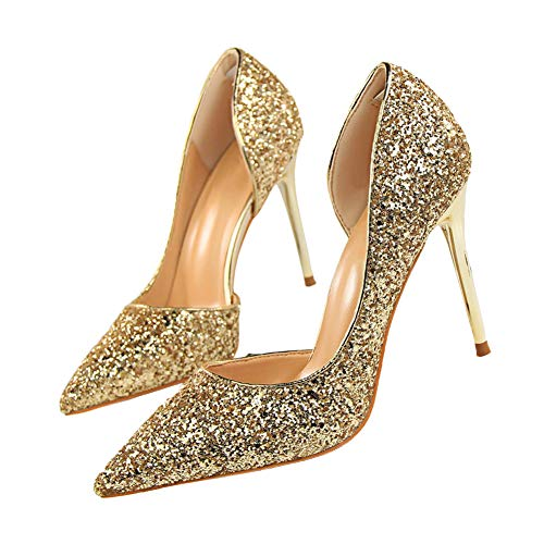 """Pointed High Heel Shoes Fashion Dress Pumps Bridal Wedding Party Glitter Pump 3.5"""" Gold"""