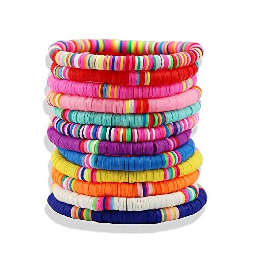 Heishi Surfer Bracelets set - 6mm Polymer Clay Rainbow Bracelet Elastic Rope Bracelet, Boho Beaded Bracelet, Great for Beach, Vacation (12pc Heishi Surfer Bracelets A)