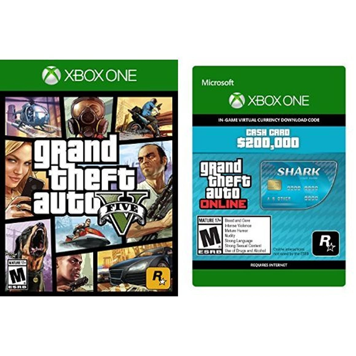 Grand Theft Auto V - Xbox One + Grand Theft Auto V - Tiger Shark Cash Card - Xbox One [Digital Code] bundle
