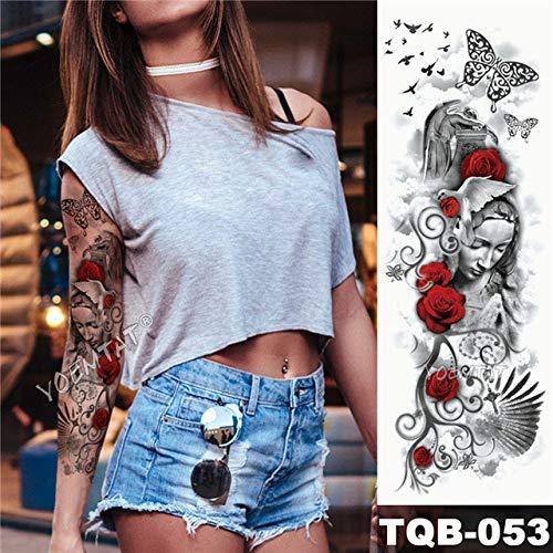 Brazo grande manga tatuaje arte Python impermeable tatuaje pegatina Lotus Peacock Girl
