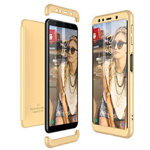 Preisvergleich Produktbild CE-Link Kompatibel mit Samsung Galaxy A7 2018 Hülle Hardcase 3 in 1 Handyhülle 360 Grad Schutz Ultra Dünn Slim Hard Full Body Case Cover Backcover Schutzhülle Bumper - Gold
