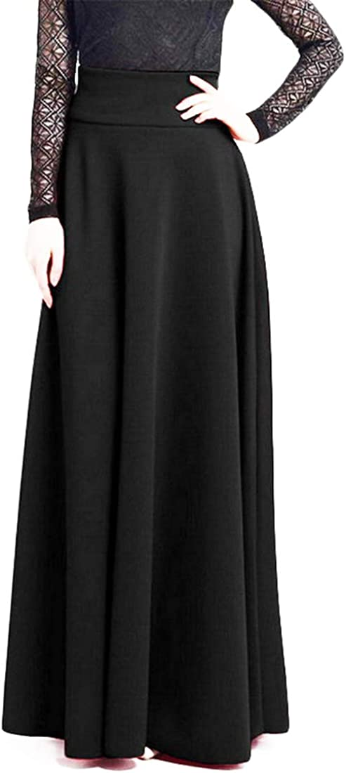 Women's High Waist A-Line Pleated Solid Vintage Swing Maxi Long Skirts Party Wedding