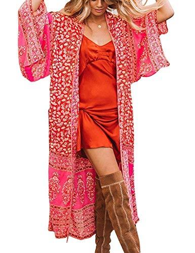 Túnica larga para mujer, de gasa, tipo kimono, cárdigan, vestido, con estampado floral, para llevar con bikini, ideal para verano Estilo 9 Taille unique