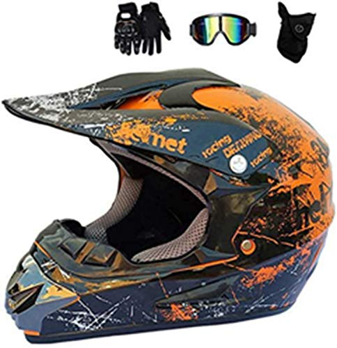 YXLM - Casco de motocross para adulto, color naranja y negro, casco de protección para motocross, con guantes, gafas, máscara, ATV, con certificado L