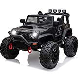 papasbox Kids Ride on Truck,12V Battery Powered Electric Car w/ Parental Remote Control,Spring Suspension Wheels,LED Lights,Safety Belt, Music,Bluetooth,AUX Cord,USB Port,MP3 Player
