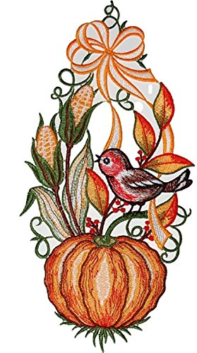 Fensterbild 16x30 cm + Saugnapf Plauener Stickerei Spitze Kürbis mit Vogel Spitzenbild Halloween Herbst