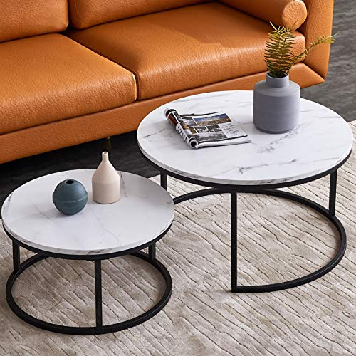 Round Coffee Tables for Living Room White Modern,Marble Nesting Tables Sofa Side Nest of Tables,End Tables for Bed Room Set of 2 with Solid Metal Frame for Small Space (Black-White)