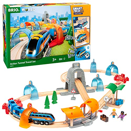 Brio 33972 Smart Tech Sound Action Tunnel Travel Set | Wooden Toy Train Set for Kids Age 3 and Up