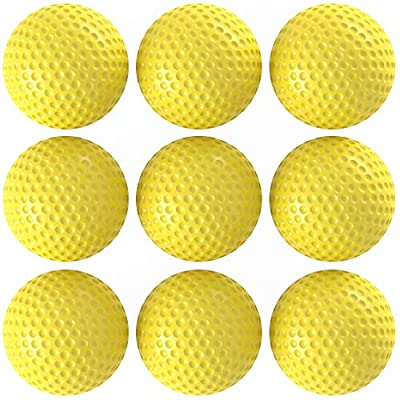 BALLSSIO Practice Foam Golf Balls Pack of 9 - Dent Resistant, Limited Flight, Realistic Performance, Dimpled Ideal for Indoors and Backyard - Yellow