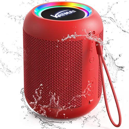 Bluetooth Lautsprecher Outdoor Lautsprecher Box mit Licht, KATMAI E7-L Bluetooth Lautsprecher Wasserdicht IPX6, Bass-up, 13h Spielzeit, Lautsprecher Bluetooth für Badezimmer, Reisen, Party und Haus