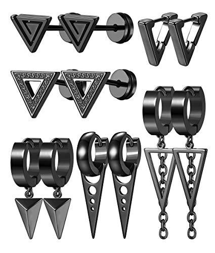 Milacolato 6 Pares de Aretes Triangulares Colgantes de Acero Inoxidable para Hombres y Mujeres Geométricos Punk Kpop Huggie Pendientes de aro Con Bisagras