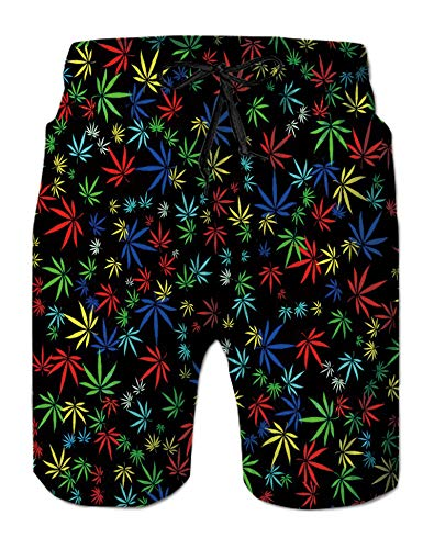 TUONROAD Outdoor Water Sports Trunks Colorful Royal Blue Turquoise White Marijuana Cannabis Hemp Leaf Surfing Bathing Suit Boardshorts with Pocket Funny Printed Beach Swim Trunks Shorts