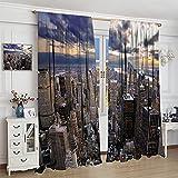 Cool Modern - Cortina de noche con diseño de rascacielos de Nueva York para habitación de niños, cortinas de sombreado para salas de estar, comedores, dormitorios, 214 x 214 cm