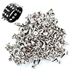 300 Pcs Silver Cone Studs, Cone Spikes Screwback Studs Metal Spikes Punk Studs for Clothing, Jacket Studs, DIY Leather Craft by HNBun 7x10mm