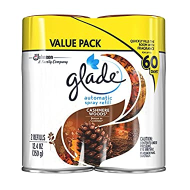 Glade Automatic Spray Air Freshener Refill, Cashmere Woods, 12.4 Ounce, 2 Refills