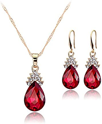 Hosaire Necklace Earrings Diamond Water droplets Elegant Women Jewellery Set of Crystal Pendant Necklace+Earrings