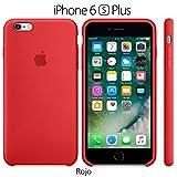 Funda Silicona para iPhone 6 Plus y 6s Plus Silicone Case, Logo Manzana, Textura Suave, Forro Microfibra (Rojo)