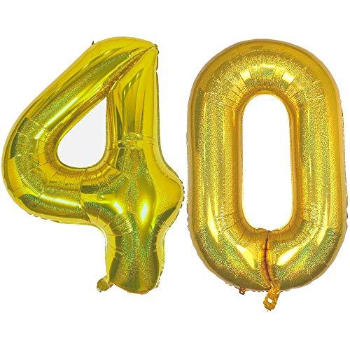 DIWULI, Globos gigantescos con número 40, tamaño XXL, globos dorados brillantes, globos con número número número 40, globos de papel de aluminio, globos de 40 cumpleaños, decoración para fiestas