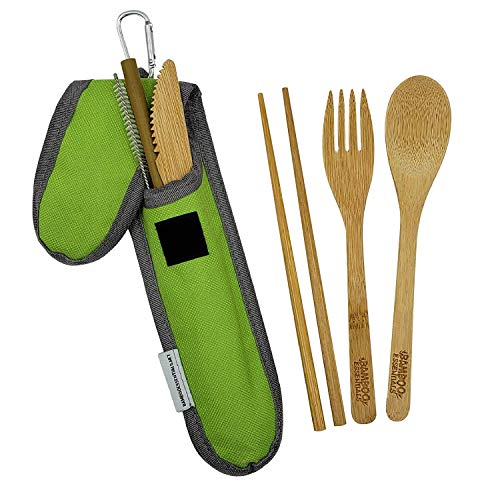 Bamboo Travel Utensil Set | Bamboo Fork, Knife, Spoon, Chopsticks, Straw, S