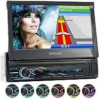 "XOMAX XM-VN745 Radio de Coche con Mirrorlink I Navegador GPS I Bluetooth I Pantalla táctil 7"" / 18 cm I RDS, USB, AUX I Conexiones para cámara de Marcha atrás y Mando a Distancia del Volante I 1 DIN"