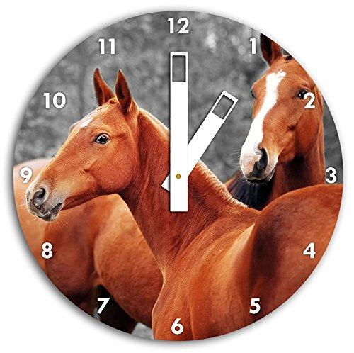 beaux chevaux dans la prairie B & W en détail, carré diamètre horloge murale de 30 cm avec des mains blanches et le visage, des objets de décoration, Designuhr, composite aluminium très agréable pour séjour, bureau