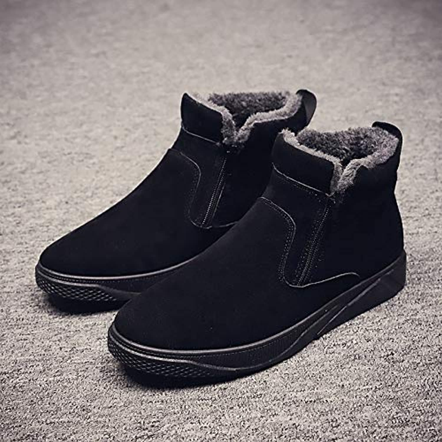 LOVDRAM Boots Men's Martin Boots Men'S Boots Winter High Top shoes Fashion Casual Boots Men'S Middle Boots Leather Boots Winter Cotton shoes Men