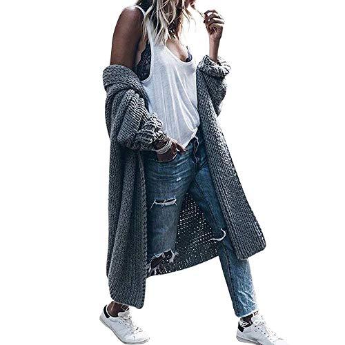 BaZhaHei Maglione a Maglia Cardigan Lunga Invernale Donna Casual Elegante Vintage Cappotto Manica a Pipistrello Moda Giacca Donna Autunno Inverno Donna Casuale Tops Parka