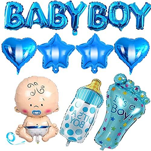 HONGECB Decoraciones Para Baby Shower, Globo de Aluminio, Globos Azules, Decoración Para Fiestas Niño, Pancarta De Globo Baby, Fiesta De Bienvenida Bebe, Gender Reveal Decoration, 8 Piezas