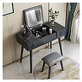 WENMENG2021 Juego de tocador de esquina con luces LED y espejo, mesa de maquillaje de tocador 2 cajones y taburete, 118 x 90 x 40 cm, color blanco y gris oscuro (color: gris oscuro)