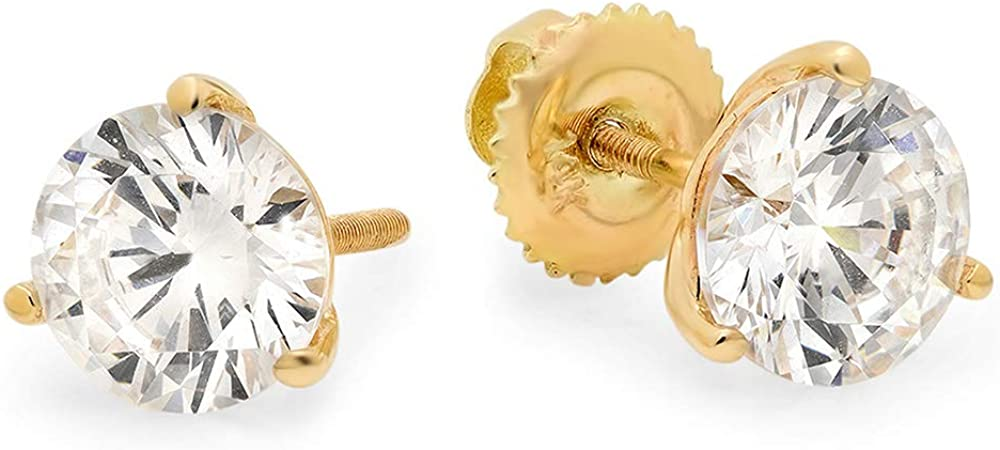 Clara Pucci 1.40 CT Round Cut Conflict-Free VVS1 Ideal Gemstone Birthsone designer Solitaire Martini Style Stud Earrings in Solid 14k Yellow Gold Screw Back