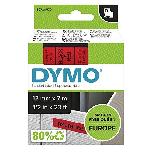 DYMO D1-Etikettenband Authentisch | schwarz auf rot | 12mm x 7m | selbstklebendes Schriftband | für LabelManager-Beschriftungsgerät