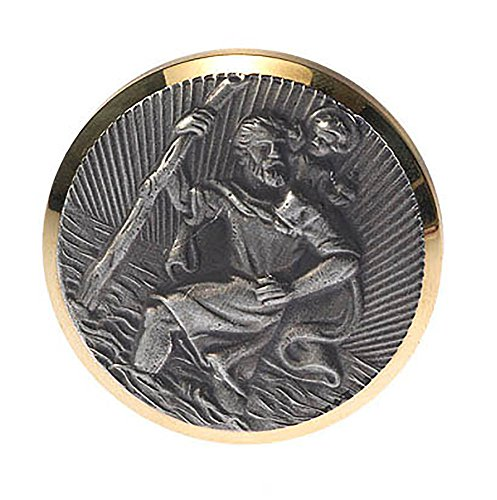HP Autozubehör CHRISTOPHORUS Plakette Gold/Silber Ø4,3 cm MAGNETISCH UND SELBSTKLEBEND CHRISTOPHORUS Badge